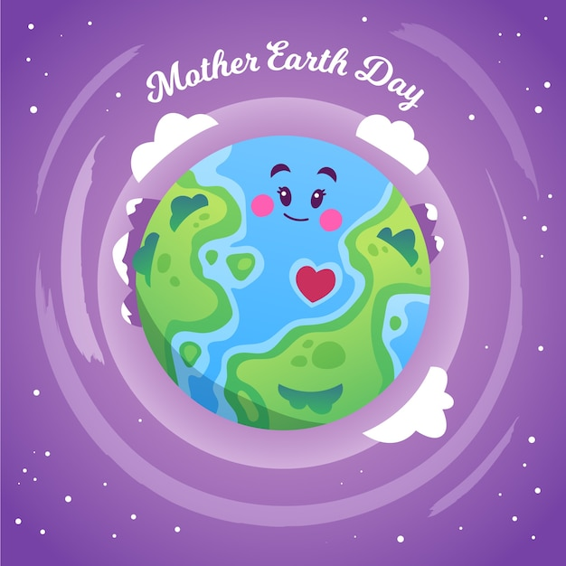 Mother earth day with smiley planet and clouds Free Vector