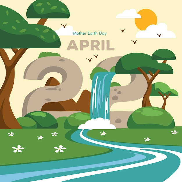 Mother earth day with waterfall Free Vector