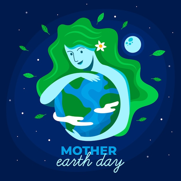 Mother earth day with woman with green hair hugging the planet Free Vector