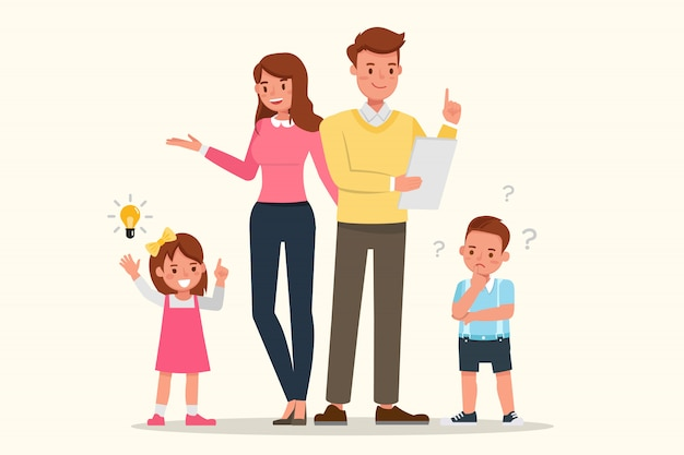 Mother, father and children's together. Premium Vector