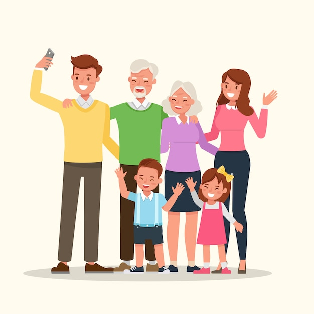 Mother, father, grandparents and children together. Premium Vector