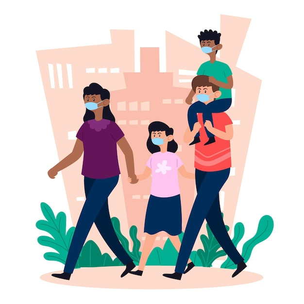 Mother and father walking children with medical mask Free Vector