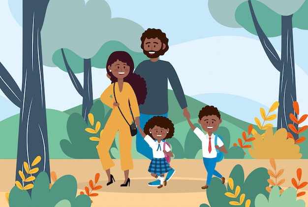Mother and father with their boy and girl with backpack Free Vector