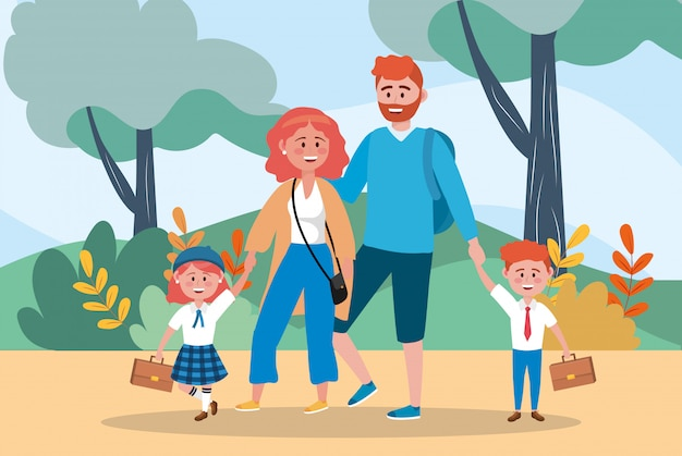 Mother and father with their girl and boy studentes Free Vector
