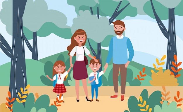Mother and father with their girl and boy students in the landscape Free Vector