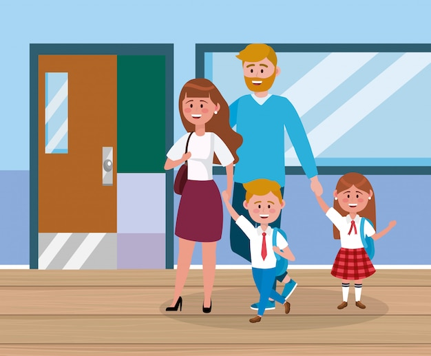 Mother and father with their girl and boy students with backpack Free Vector