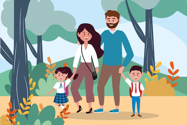 Mother and father with their girl and boy students with plants Free Vector