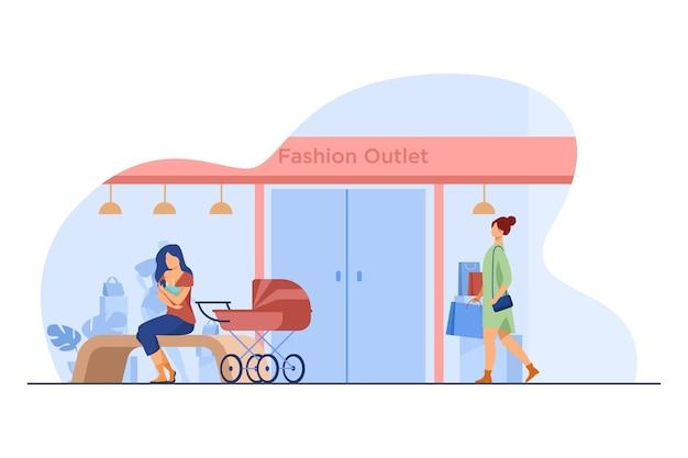 Madre che allatta il bambino vicino all'outlet di moda. negozio, carrozzina, shopping piatta illustrazione vettoriale. maternità e allattamento Vettore gratuito