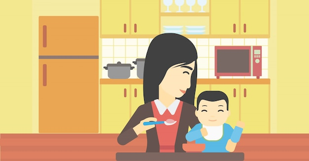 Mother feeding baby. Premium Vector