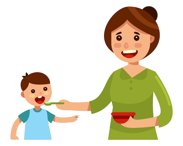Mother feeding her baby child with spoon going to mouth ...