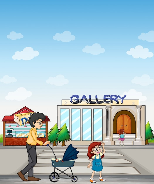 A mother and her daughter walking together Free Vector