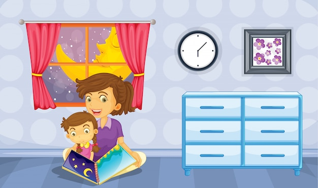 A mother and her daughter Free Vector