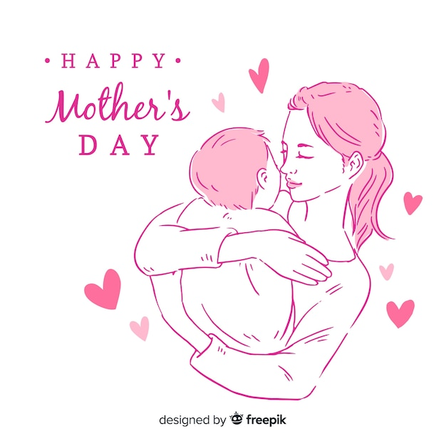 Mother holding baby mother's day background Free Vector