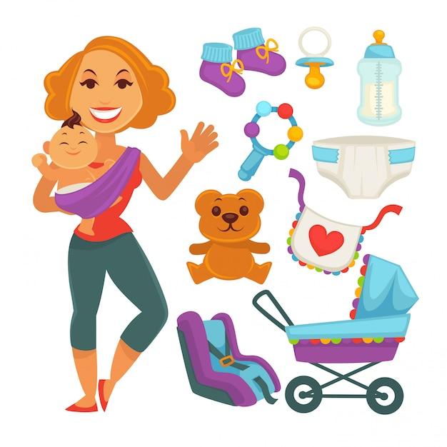 Mother holding baby near newborn things set on white Premium Vector