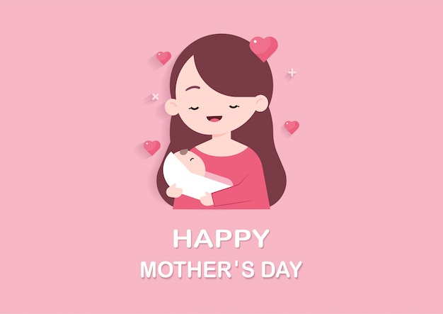 Mother holding cute baby Premium Vector