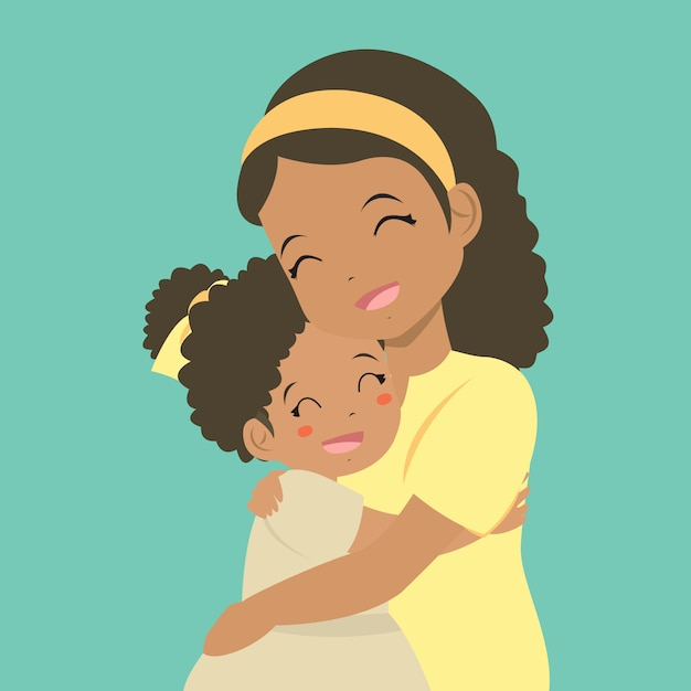 A mother hugging her daughter Premium Vector