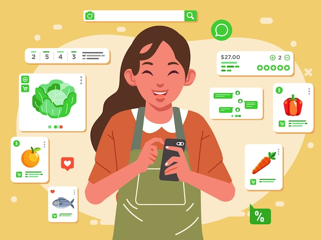 Mother is grocery shopping online from online store with her phone, fruits, vegetables, fish and other delivery to home  illustration. used for web image, poster and other Premium Vector