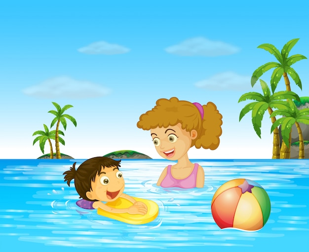 Mother and kid swimming in the ocean Free Vector