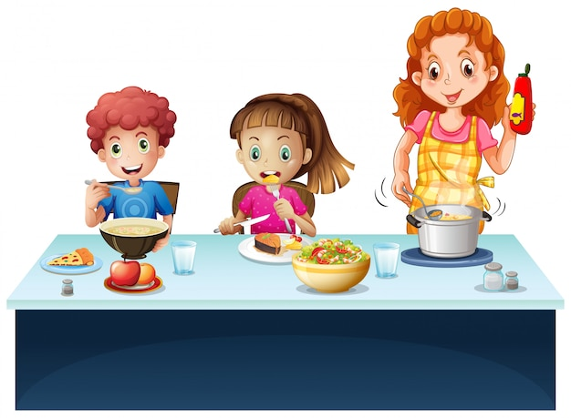 Mother and kids having meal at dining table Free Vector