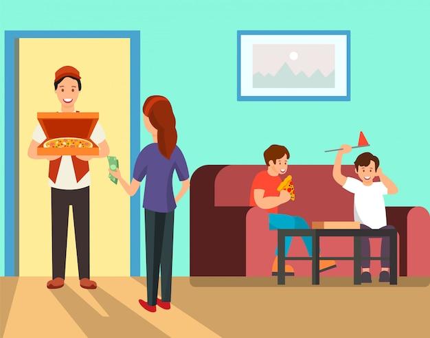Mother ordering pizza for dinner  illustration Premium Vector