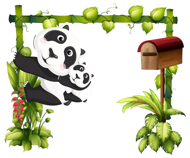 A mother panda together with her baby Free Vector
