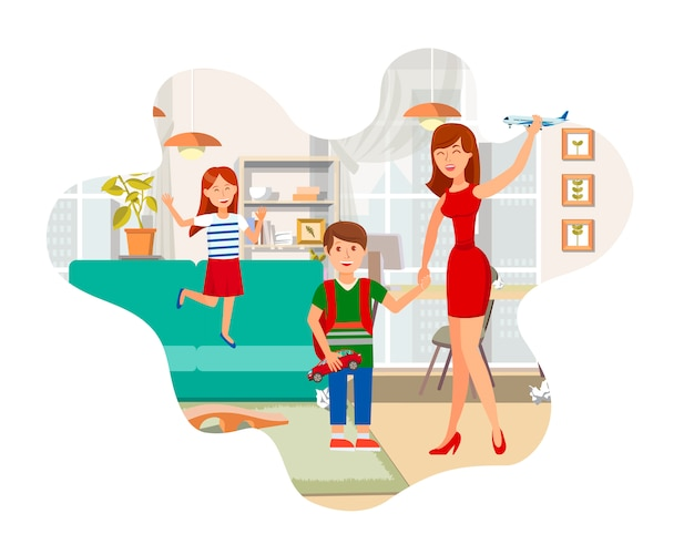 Mother playing with children flat illustration Premium Vector