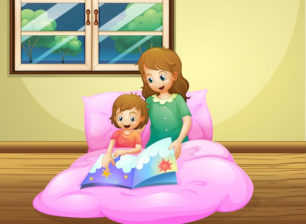 Mother reading with her daughter Premium Vector