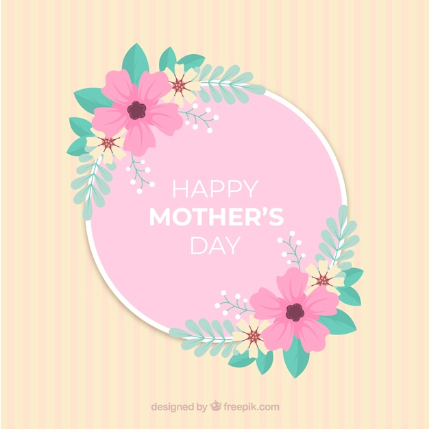 Mother's ay background with colorful flowers Free Vector