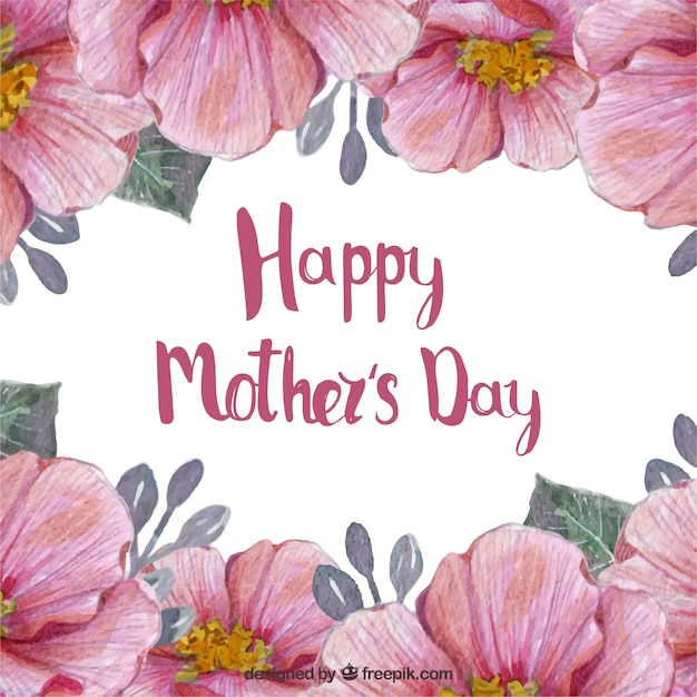 Mothers Day Background With Cute Flowers In Watercolor Style