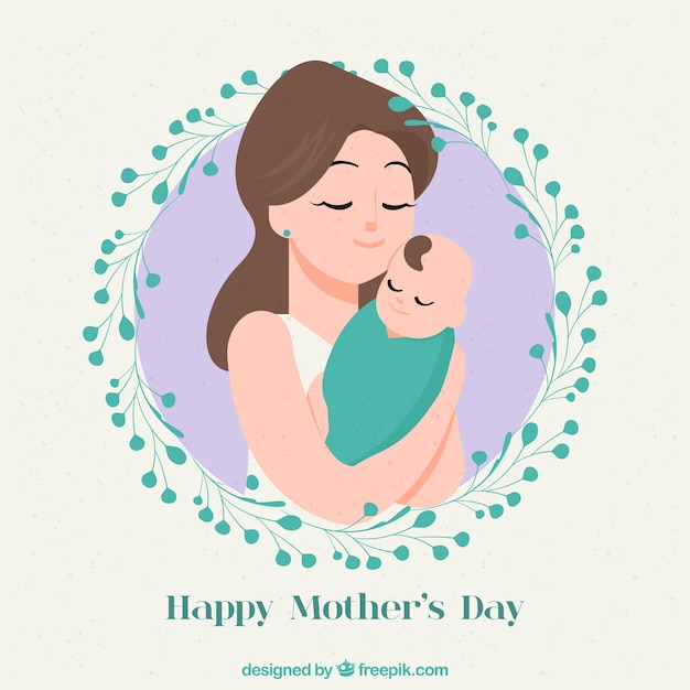 Mother's day background with family in hand drawn style Free Vector