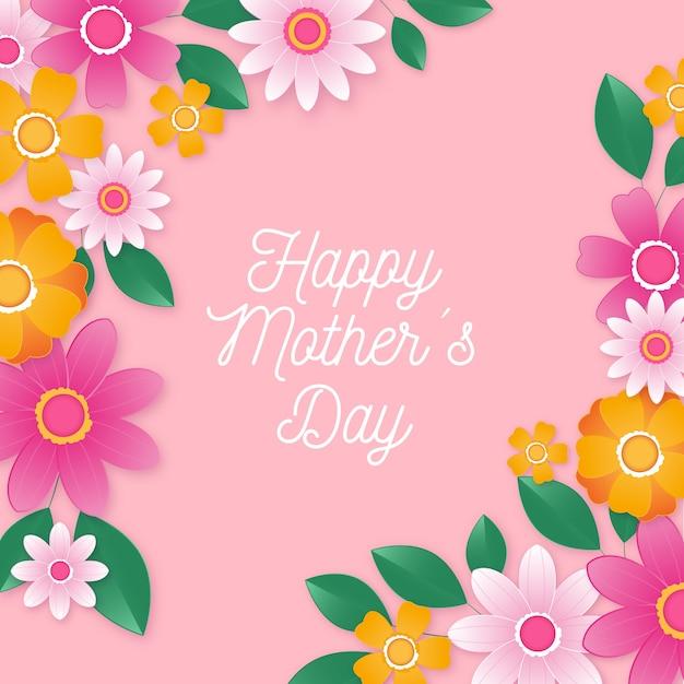 Festa della mamma sfondo con fiori Vettore gratuito