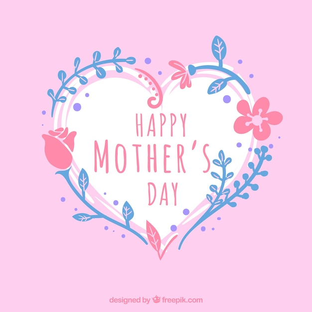 mothers day background with heart and blue and pink