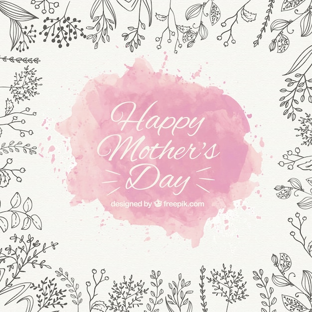 Mother\'s day background with pink watercolor\ stain