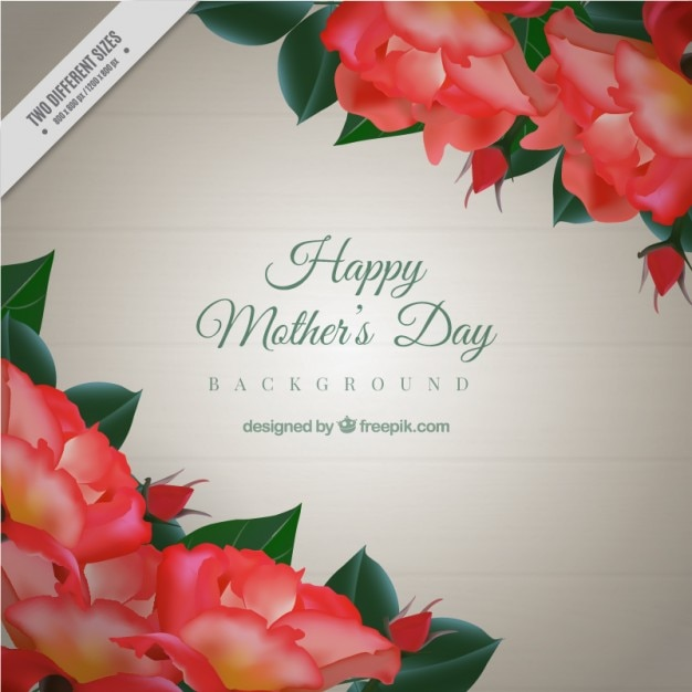 Mother\'s day background with realistic red\ flowers