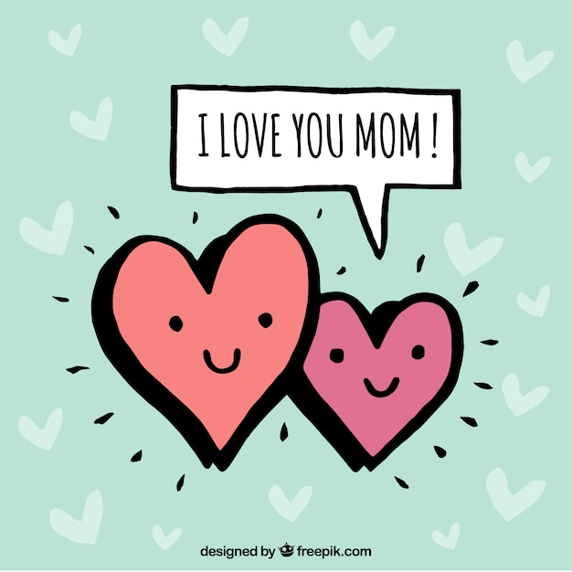 mother s day background with two smiling hearts vector free download