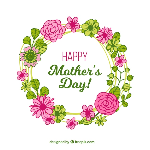Mother's day background with wreath of flowers  Free Vector