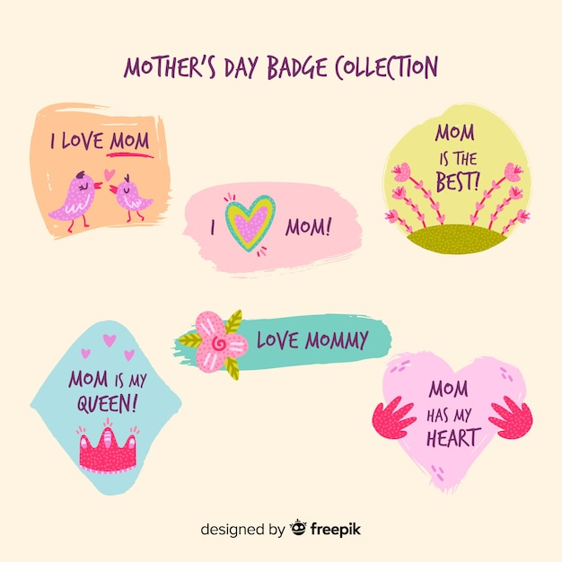 Mother's day badge collection Free Vector