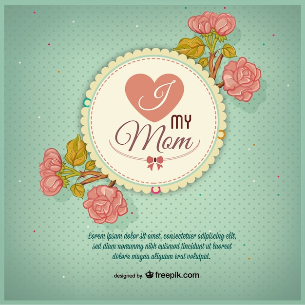 Mother's day badge with pink flowers Free Vector
