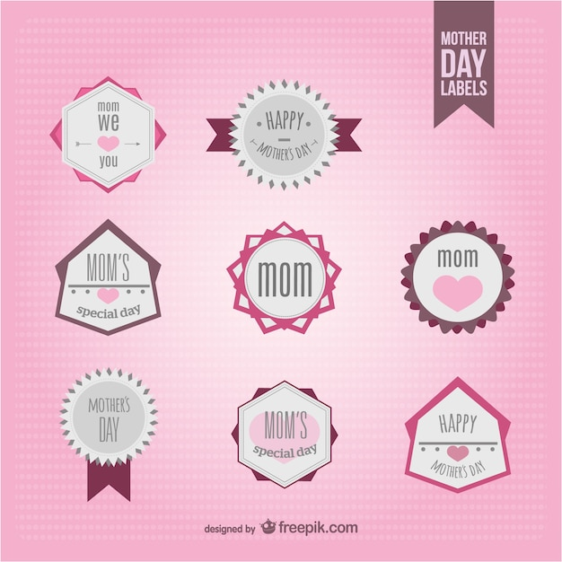 Mother's day badges collection Free Vector