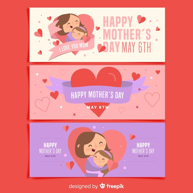Mother's day banner collection Free Vector