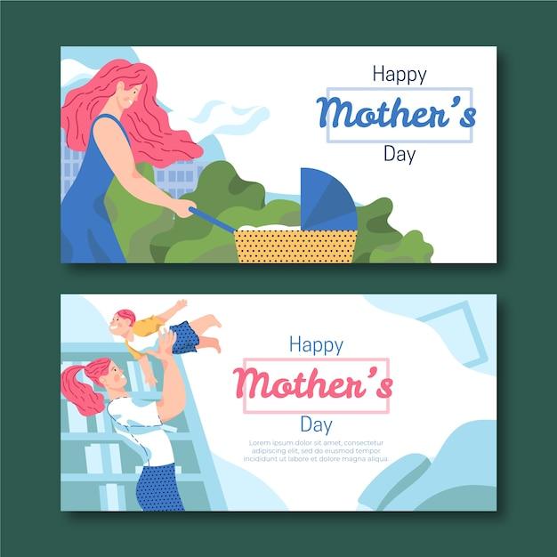 Баннеры ко дню матери в плоском дизайне Бесплатные векторы