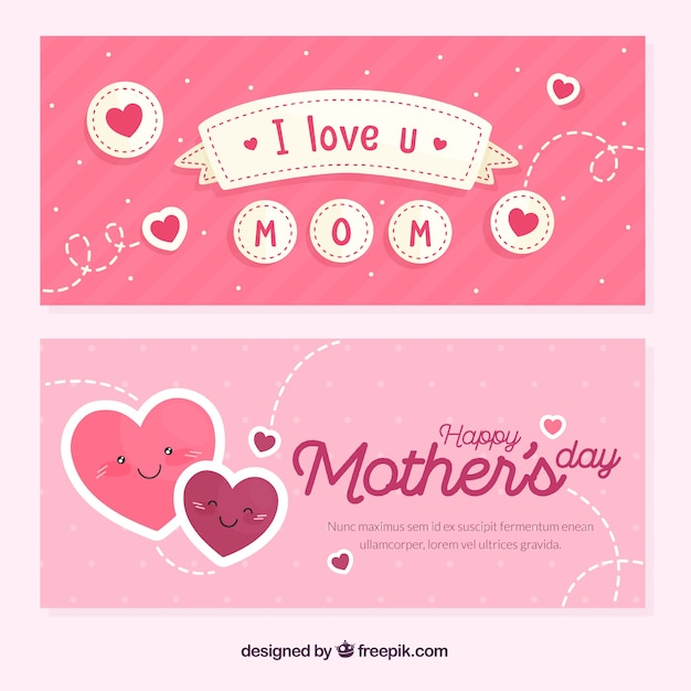 Mother's day banners in flat style Free Vector