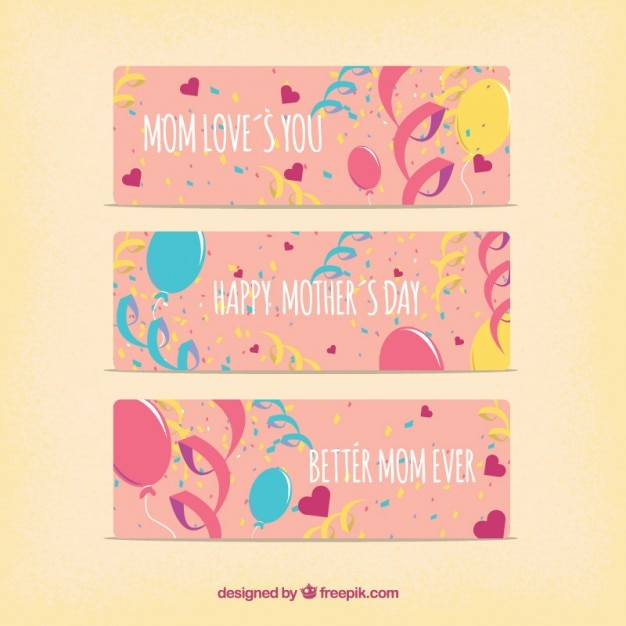 Mother\'s day banners with balloons and\ confetti