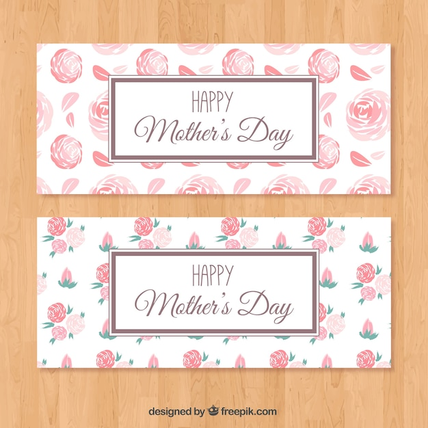 Mother\'s day banners with flowers in pink\ tones