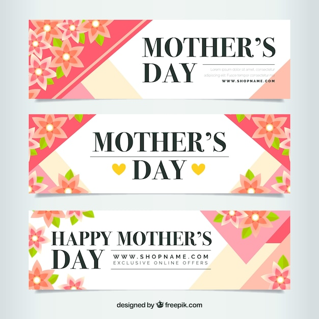 Mother\'s day banners with flowers