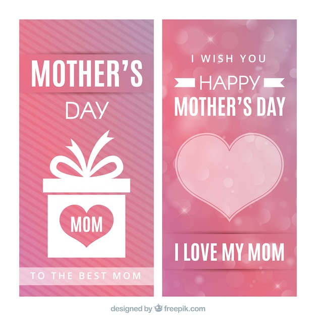 Mother's day banners with heart and gift Free Vector