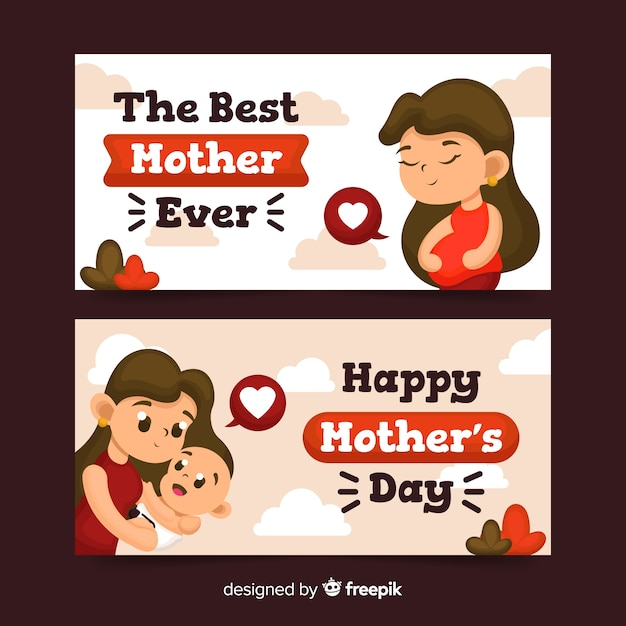 Mother's day banners Free Vector