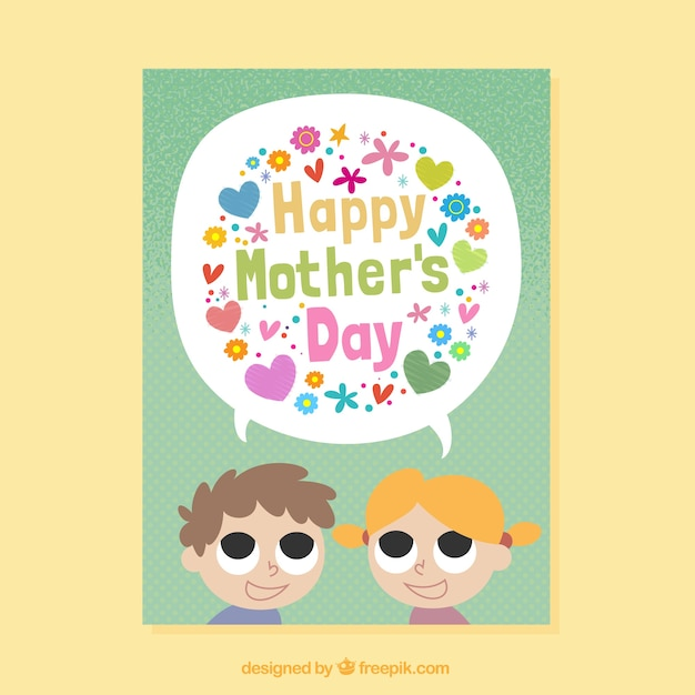 Mothers day card template with kids and colored flowers vector mothers day card template with kids and colored flowers free vector pronofoot35fo Choice Image