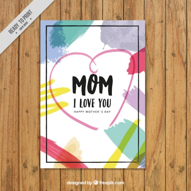 Mother\'s day card with brush strokes