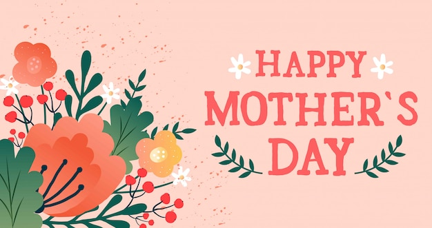 Mother's day card with flowers Premium Vector